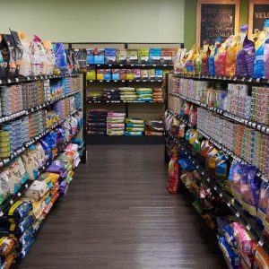 Dog and Cat Food Aisle at Friendly Pets in Exeter, NH