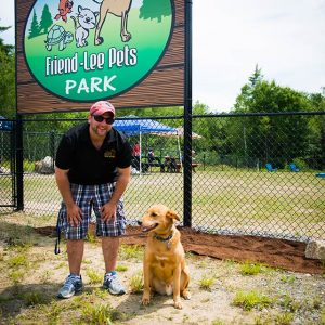Friendly Pet's owner Craig Maggio and Tommy at the Dog Park in Lee